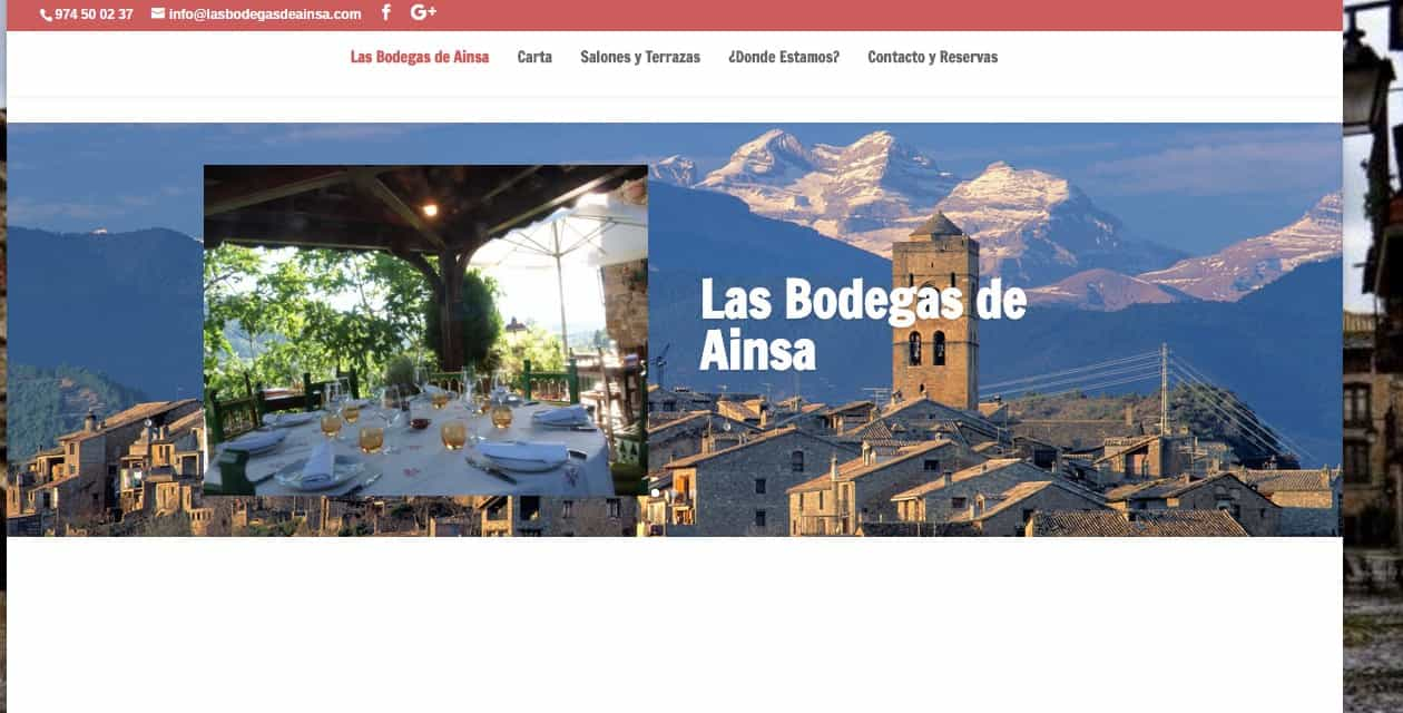 Nueva Web de Las Bodegas de Ainsa Restaurante Asador